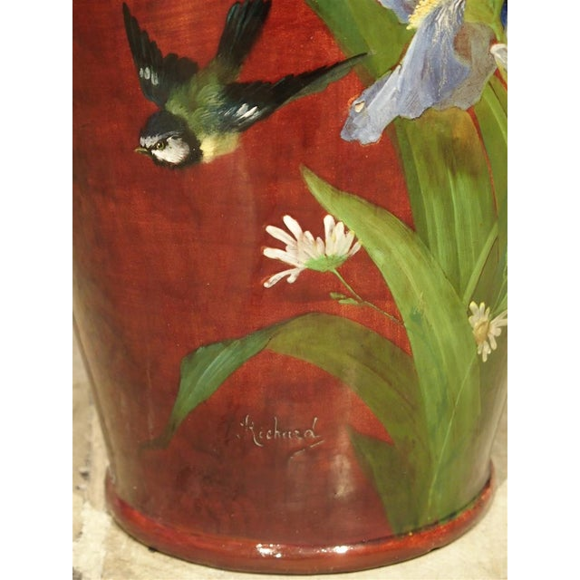 Art Nouveau Grand Antique French Barbotine Vase, Parisian School Late 1800s For Sale - Image 3 of 12