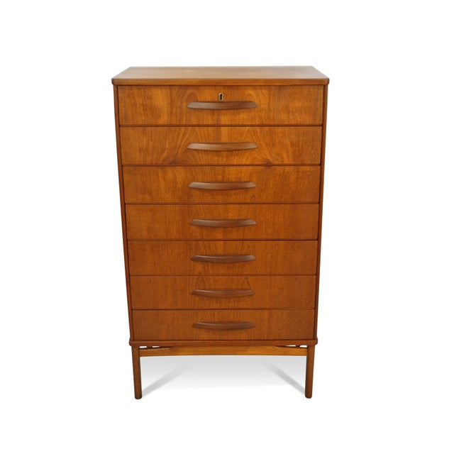 Original Danish Mid Century Modern Teak 7 Drawer Dresser | Chairish