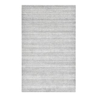 Sanam, Contemporary Solid Hand Loomed Area Rug, Light Gray, 5 X 8 For Sale