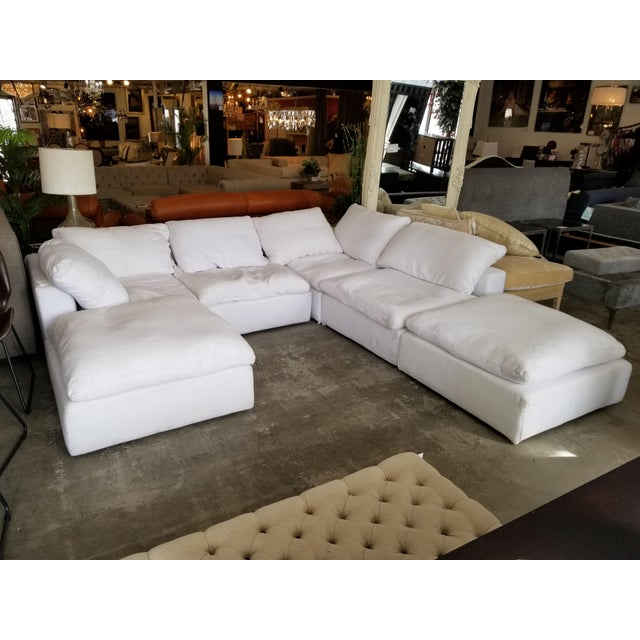 Fabric Restoration Hardware Slipcovered Cloud Modular Sofa Sectional in White Linen For Sale - Image 7 of 7