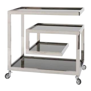 Regina Andrew Modern Greek Key Polished Nickel Collins Bar Cart For Sale