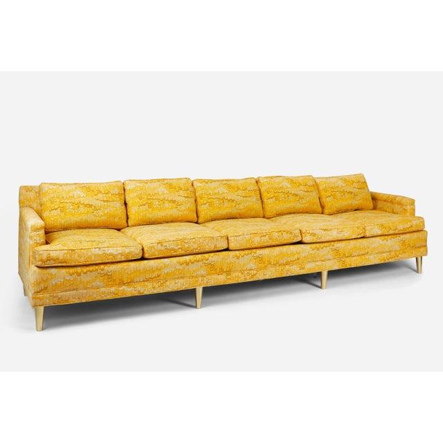 Jack Lenor Larsen 5 Seat Sofa on Brass Legs For Sale In Chicago - Image 6 of 7