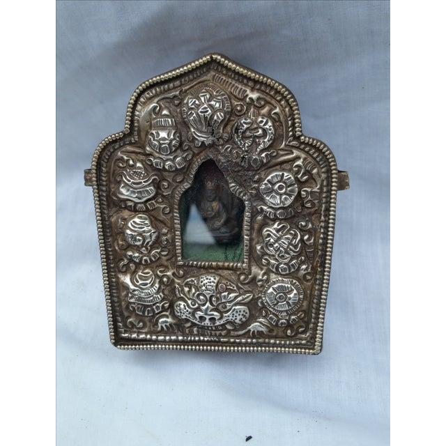 Vintage Traveling Silver Buddhist Shrine - Image 2 of 7