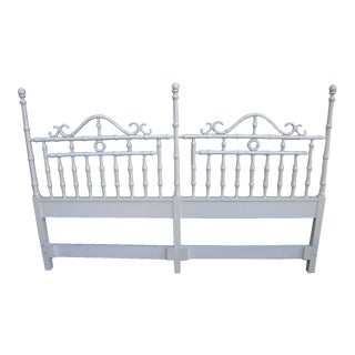 Hollywood Regency Mid Century Painted King Size Headboard For Sale