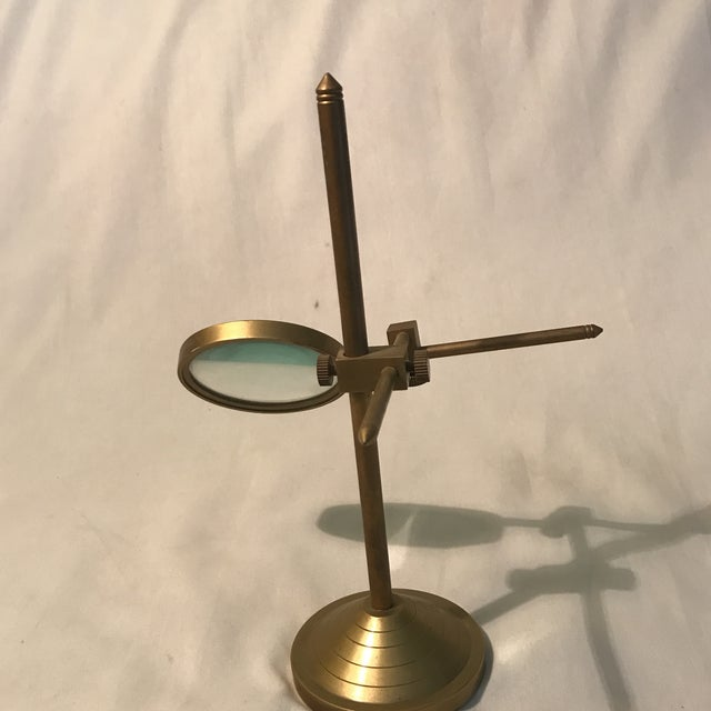 Vintage Magnifying Glass With Adjustable Brass Stand For Sale In Charlotte - Image 6 of 11
