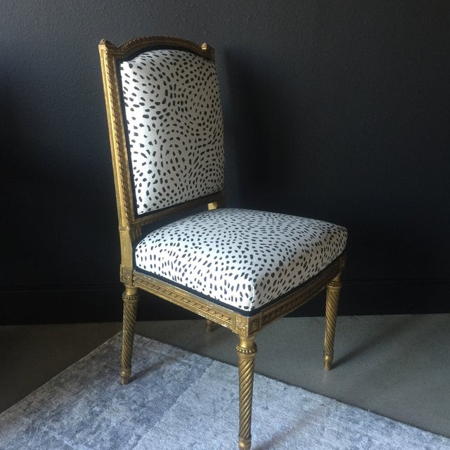 Louis XVI Gilt Antique Side Chair For Sale - Image 3 of 7