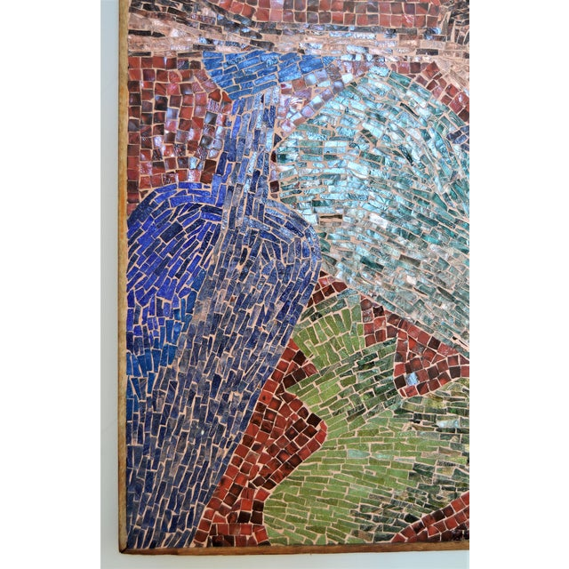Cubist Glass Mosaic Wall Sculpture -- Mid Century Modern MCM Boho Chic Cottage Abstract Expressionism Folk Art - Image 5 of 11