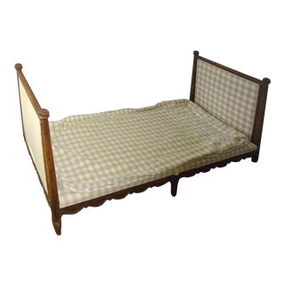 Antique French Louis XVI Style Carved Walnut Daybed For Sale