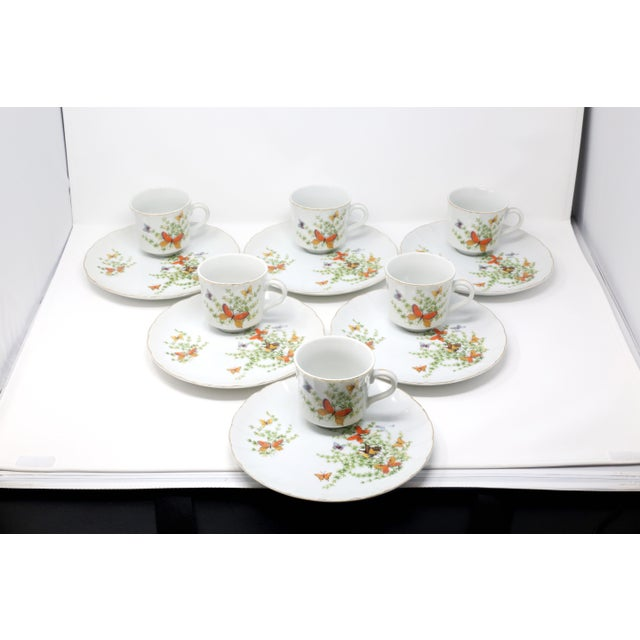 "Vintage ""Ecstasy"" Butterflies Snack Plates and Cups by Shafford - Set of 12 For Sale - Image 11 of 11"