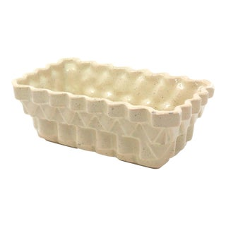 Vintage Geometric Speckled Ceramic Planter by Upco For Sale
