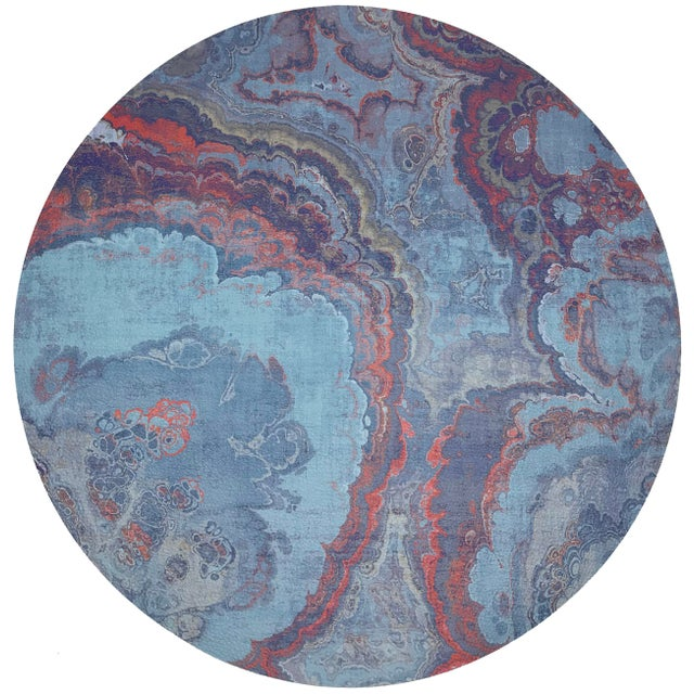 "Abstract Nicolette Mayer Agate Lava 16"" Round Pebble Placemats, Set of 4 For Sale - Image 3 of 3"