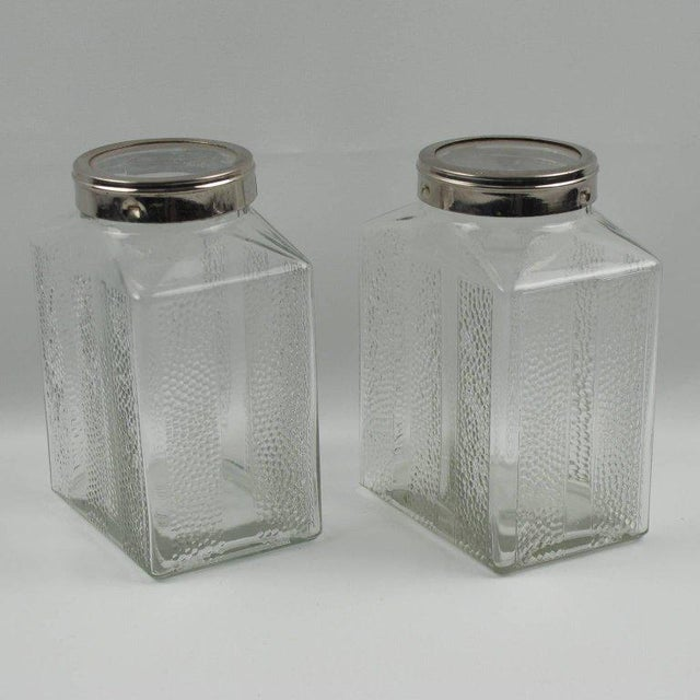 Art Deco Glass and Chrome Kitchen Canister Jar - a Pair - Image 3 of 9