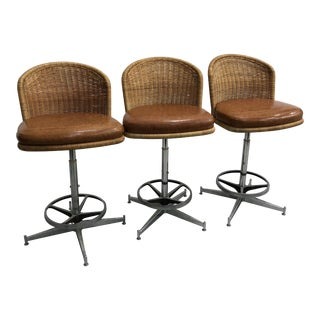 1970s Vintage Daystrom Chrome & Rattan Bar Stools - Set of 3 For Sale