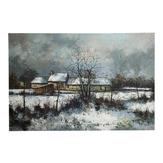 1970s Cottage Oil Painting, Winter Countryside Landscape by Aldo Luongo For Sale