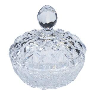 Vintage Crystal-Cut Lidded Bowl For Sale