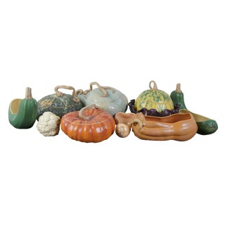 Patricia Garrett Great Impressions Pottery Gourd Vegetable Dish Tureens - Set of 10 For Sale