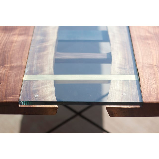 Claro Walnut Slab Dining Table With Solid Brass Inlays + Glass River Center Display For Sale - Image 5 of 11