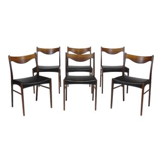 Arne Wahl Danish Rosewood and Leather Dining Chairs - Set of 6 For Sale