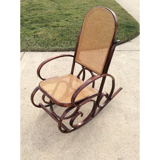 American Mid Century Luigi Crassevig Thonet Style Bentwood Rocker For Sale - Image 3 of 12
