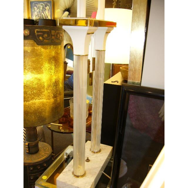 Metal 1950s Modernist Columnar Lamp With White Marble Base For Sale - Image 7 of 8
