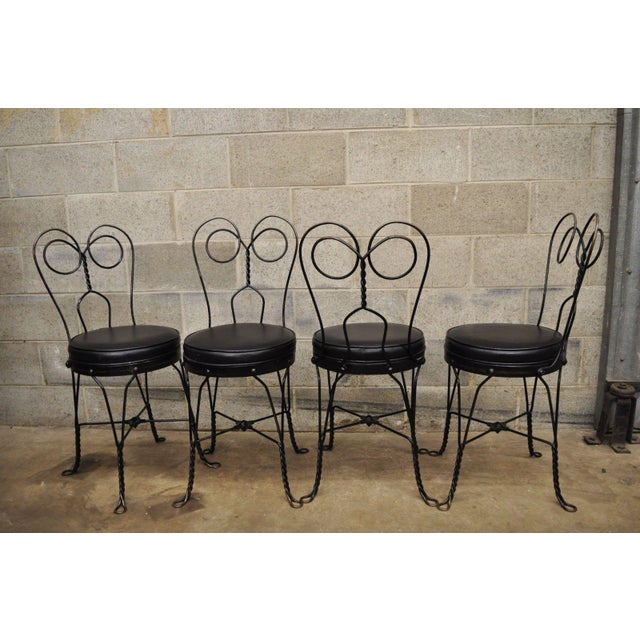 Contemporary Antique Twisted Heart Back Wrought Iron Ice Cream Parlor Dining Chairs - Set of 4 For Sale - Image 3 of 11