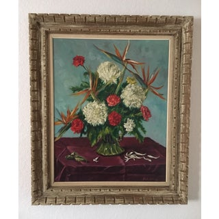 Still Life Flowers With Burgundy Cloth Painting by Ben Wilks Preview
