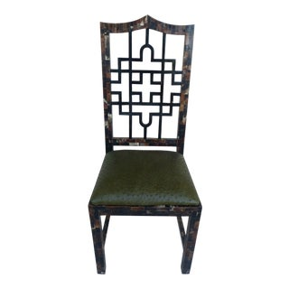 1970's Karl Springer Style Chinese Chippendale Tessellated Horn Chair W Ostrich Leather For Sale