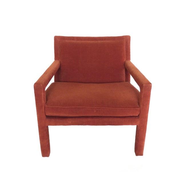 Modern 1970s Milo Baughman-Style Corduroy Armchair - Pair For Sale - Image 3 of 10