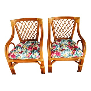 1980s Vintage Bent Bamboo Arm Chairs - a Pair For Sale