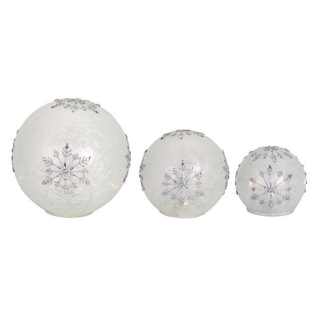 Modern Kenneth Ludwig Frosted Snowflake Led Globes - Set of 3 For Sale - Image 3 of 3