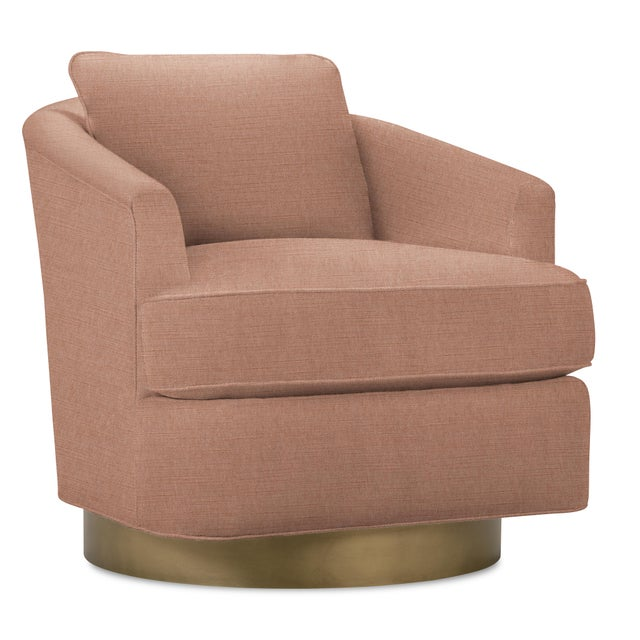 Barrel back chair with loose back and seat cushions resting on a gold finsihed swivel base. Spot clean as needed