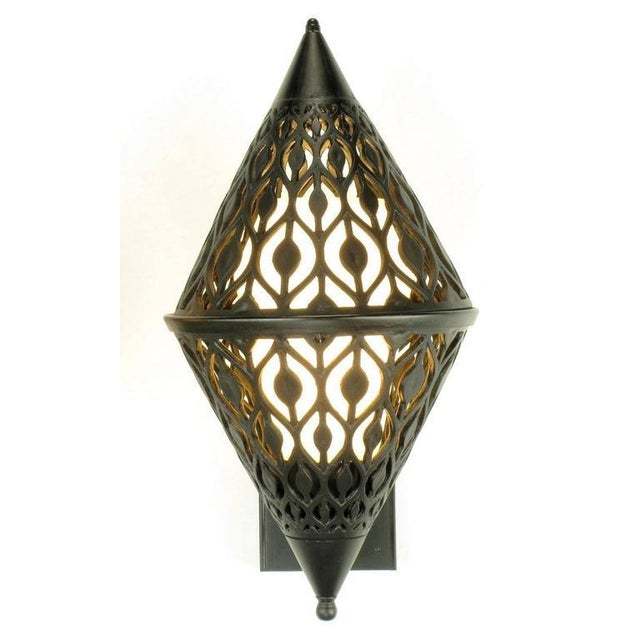 Gothic Pair of Black Enamel Pierced Diamond Sconces with Internal Milk Glass Shades For Sale - Image 3 of 9