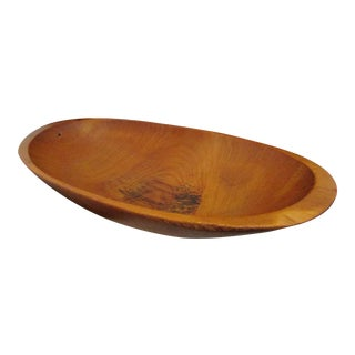 Antique 1800s New England Tiger Maple Wood Hand Hewn Trencher Bowl For Sale
