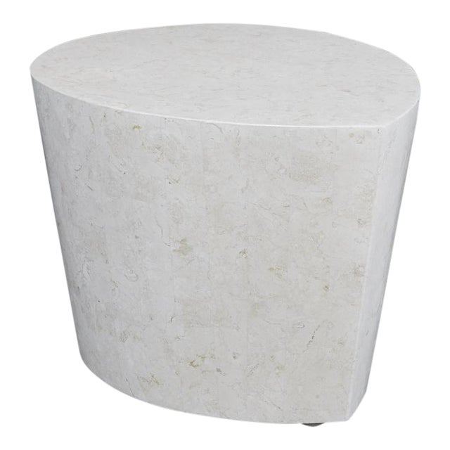 """1990s Contemporary White Freeform Tessellated Stone """"Hampton"""" Side Table For Sale"""