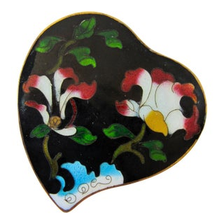 Vintage Cloisonne Black Heart With Flowers For Sale