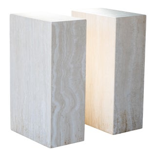 1980s Travertine Tower Cube Side Tables - a Pair For Sale