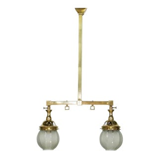 Two Light Mission Style Gas Chandelier For Sale