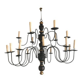 1980's Vintage Black and Gold Chandelier For Sale