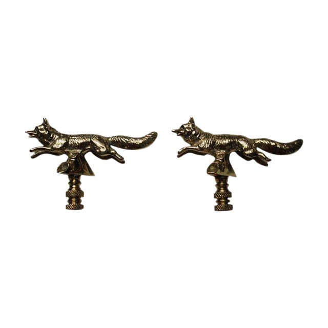 Solid Brass Fox Finials - A Pair - Image 1 of 3