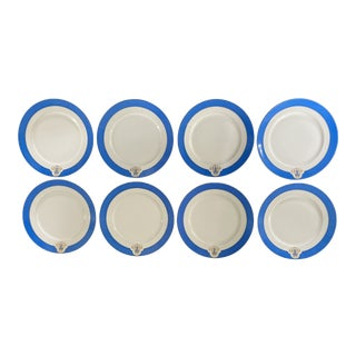 Antique Cerulean Blue and Gold Monogrammed Plates - Set of 8 For Sale