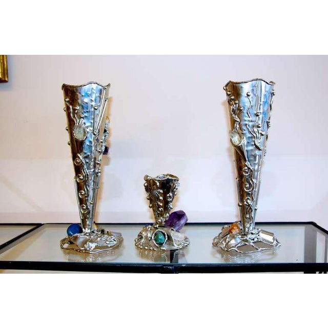 Metal Metal Vases With Semi-Precious Stones- Set of 3 For Sale - Image 7 of 10