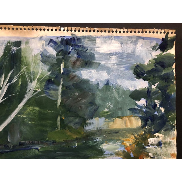 Impressionist Oil on Paper Landscape by Fabian 1970 For Sale - Image 4 of 7