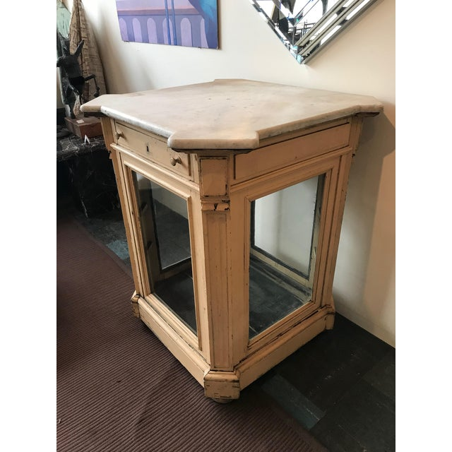 19th Century French Marble Topped Glass Cabinet For Sale - Image 4 of 12