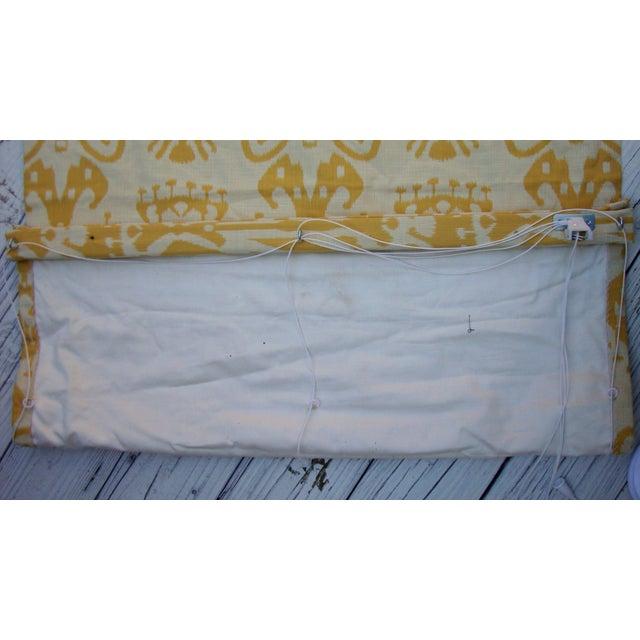 Set of 4 Custom Yellow Gold Cream Ikat Shades - Image 7 of 10