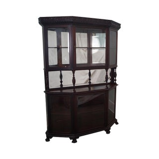 Victorian 19th Century Aesthetic Mahogany Curio China Cabinet For Sale