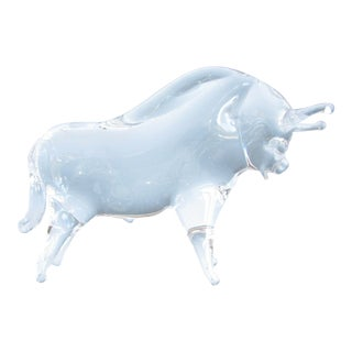 Mid 20th Century Vintage Charging Bull Hand Blown Art Glass Figurine For Sale