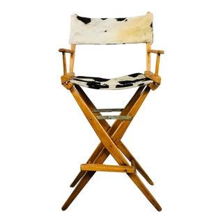 Vintage Mid Century Modern Reupholstered Directors Stool For Sale