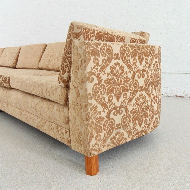 Mid-Century Modern Mid Century Newly Upholstered Damask Sofa For Sale - Image 3 of 6