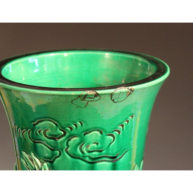 """Antique Japanese Awaji Pottery Green Dragon Vase 25"""" For Sale - Image 9 of 11"""