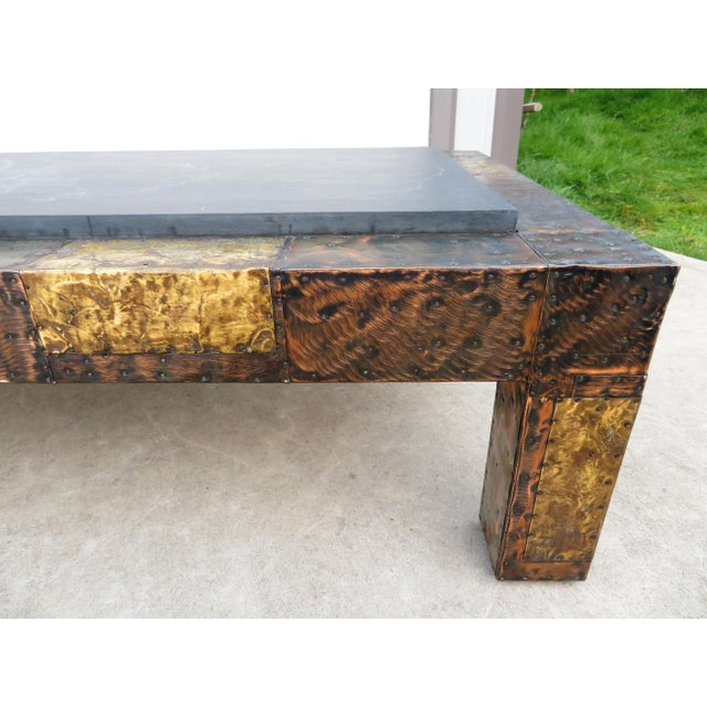 Paul Evans Mid 20th Century Paul Evans Mixed Metal Patchwork Slate Top Coffee Table For Sale - Image 4 of 13